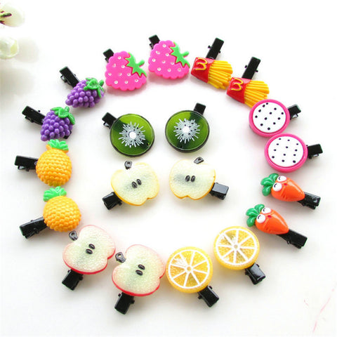 10Pcs/lot Korean New Fruit Hair Clip Kids Headband Acrylic Sweet Hair Accessories Boutique Flower Barrettes Girl Gift Duck