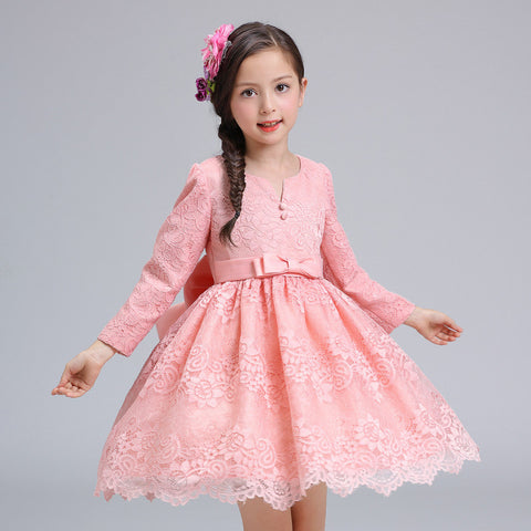 Autumn Flowers Long Sleeve Princess Party Birthday Dovetail Dresses Girl -2 colours