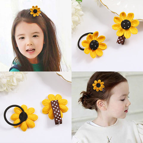 Cute Yellow Flower Hair Clips Elastic Hair Bands Girls Headbands Tie Hair Ponytail Holder