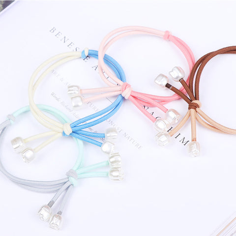 1PC New Elegance Women Elastic Hair Rubber Bands Colorful Knot Small Rose Pearl Girls Hair Ropes Hair Accessories Tie Gums