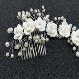 Shine Elegant Bridal Crystal Pearl Hair Comb Wedding White Flower Headband