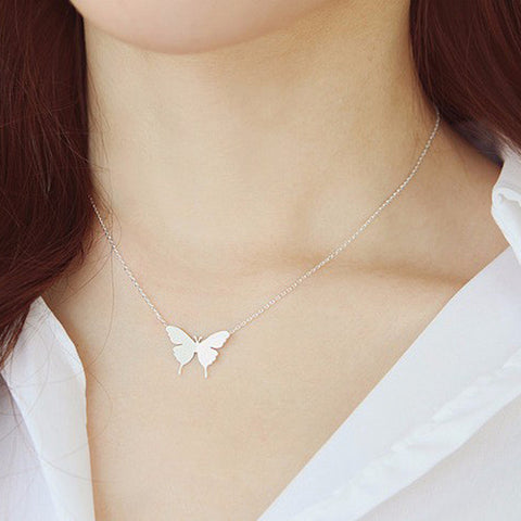 New Lovely Gold Silver Plated Butterfly Necklace for Women