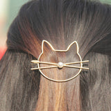Metal Simulated-pearl Cute Cat Lip Hairpins-Hair Accessories