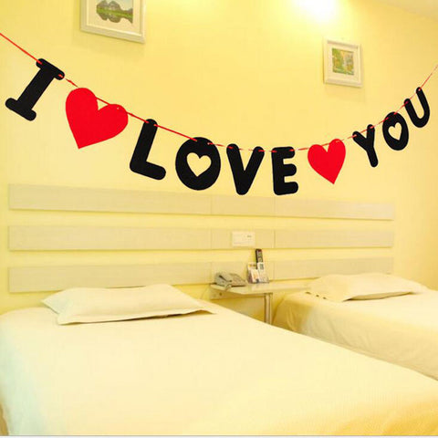 1pcs Creative Red Heart Letters I Love You Non-woven Banner Room Decorations