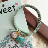 2/4pcs Korean spring new hair rope full diamond beads pearl shell starfish hair ring