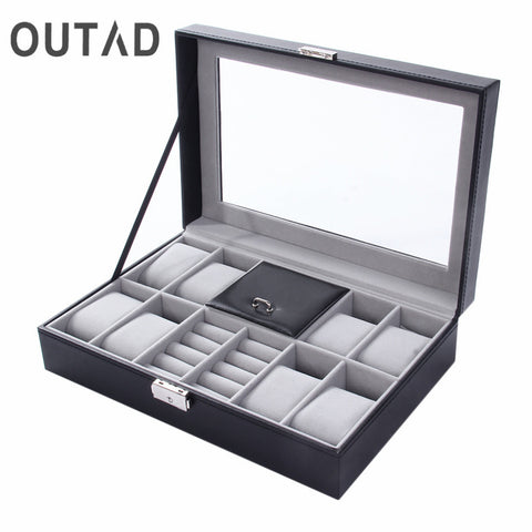 Mixed Grids PU Leather Watch Case Storage  Luxury Jewelry Ring Display Watch Boxes
