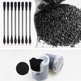 200pcs/box Bamboo Charcoal Black Cotton Swab Stick Double Head Activated Carbon