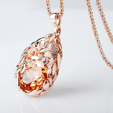 Crystal Jewelry Sweater Chain Wheat Korean Fashion Pendant Necklace