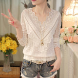 Spring  Korean Fashion elegant Women Blouse V Neck Long Sleeve Slim Lace