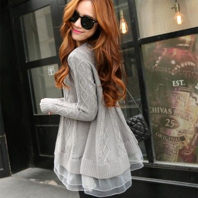 Spring Korean Style Women's Long Thin O-neck Base Loose Sweater Lace Jacket