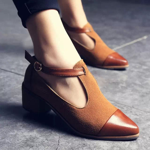 Vintage Oxford Shoes Women Pointed Toe Cut Out Med Heel Patchwork Buckle