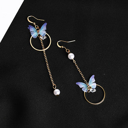 Asymmetric Alloy Circle Crystal Earrings Simulated Pearl Jewelry