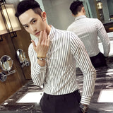 Slim Fit Cotton Shirts Male Lapel Collar Black/White Striped