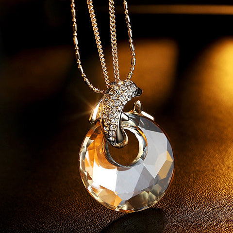 Lady Dolphin Crystal Necklace High Grade Jewelry Pendant
