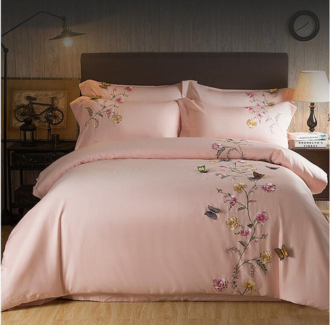 Egypt Cotton pink Butterfly Embroidery Luxury Bedding Set 4Pcs