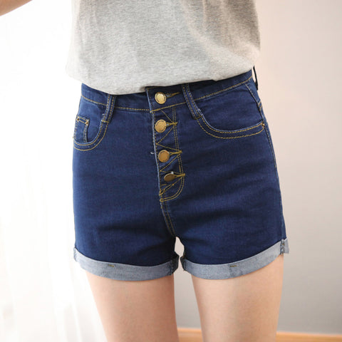 Buttons Retro Elastic High Waist Shorts Denim Shorts Loose Plus Size