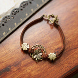 Handmade Multilayer Bohemia Vintage Clover Leaf Charm Brown Genuine Leather Bracelets
