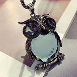 Trendy Charms Crystal Owl Necklace black Long Chain Animal