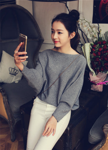 <3 Korean women's low collar Loose Batwing Sleeve Sweater -4 options