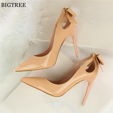 Fashion Solid Patent Leather Shallow Fashion Women Pumps Sexy Cut-Outs Bowtie Pointed Toe High Heels shoes