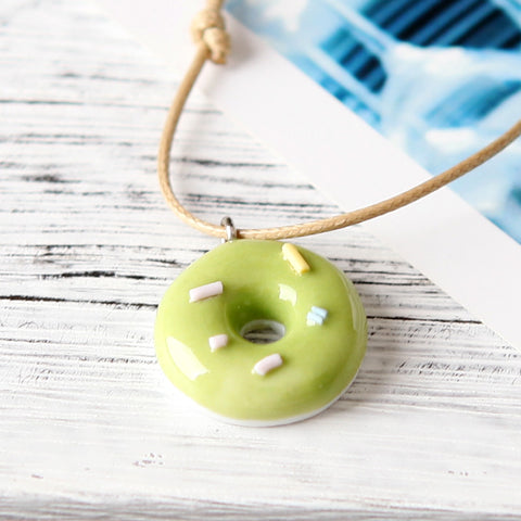 Ceramics Pendant Necklace Handmade Colored Cute Donuts Bohemia Style Jewelry