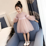 Cute Lace Solid Long Lantern Sleeve Kids Dress