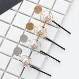 Hollow Circular Sequined Pearls Long Drop Earrings Boucle D'oreille Femme Pendante