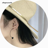 New Geometric Black Hooks Shaped Stud Earrings For Women Vintage Indian Long Earring