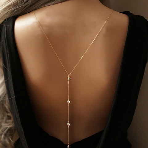 Design Crystal Backdrop Necklace Gold Color Back Body Chain Jewelry