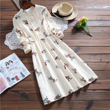 Spring Autumn Women Printed Casual Dress Cute Corduroy Long Sleeve