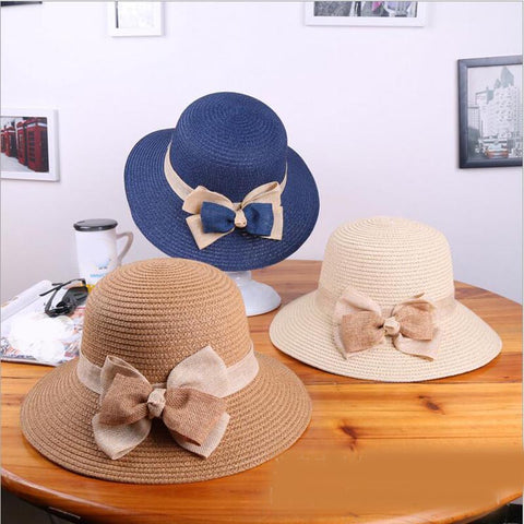 Sun Hat Black Bowknot Ribbon Flanging Straw Hat Beach Caps 6 options 42b7dc370170