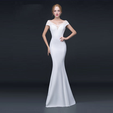 Women Dresses Mermaid Hollow Sexy Deep V Neck Diamond Bodycon Wedding Elegant