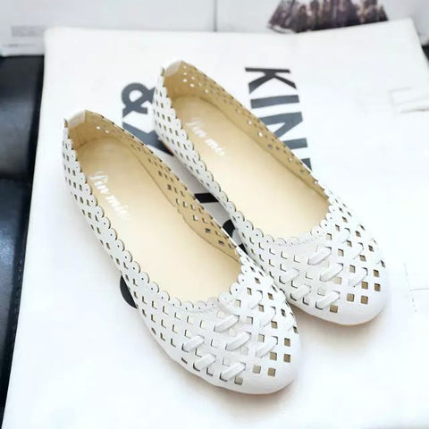 Summer style Women Ballet Flats Round Cut-outs Flats Shoes