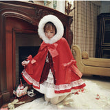 Christmas Hooded Cape Bow Red Coat Warm Lolita Style