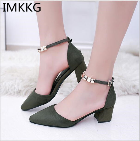 Women Pumps Beading Ankle Strap Sexy High Heel Shoes