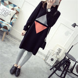 Long loose college wind knit sweaters woman casual knit pullovers
