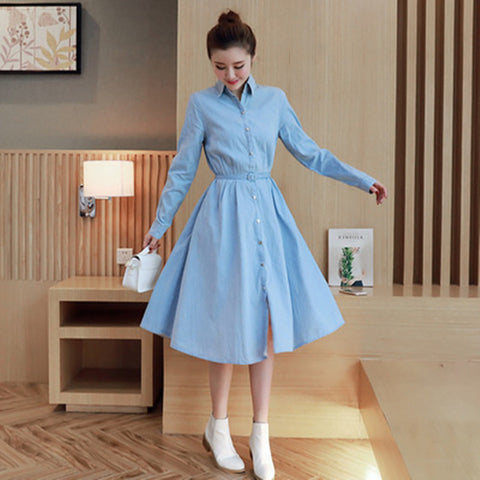 Stars loves solid color long sleeve belt slim denim shirt dress Female fashion casual long jean dresses 8129