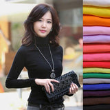 High Elastic quality sweater women wool turtleneck pullovers long sleeve