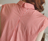 Sweet Small Check Shirts Sleeve Turn Down Collar Blouse