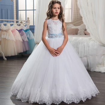 Flower Girl Dresses Sleeveless O-Neck Ball Gown Lace Up First Communion Dresses