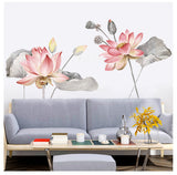 Large Lotus Flower Living Room Decoration Vinyl Wall Stickers