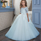 Decor Beading Girl Ball Gown Lace Appliques Half Sleeves Kids