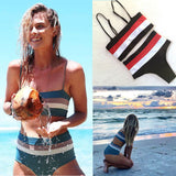 2018 New Women Sexy Bikinis Set High Waist Wide Striped Push Up Padded Women Swimwear Swimsuits Bathing Suits