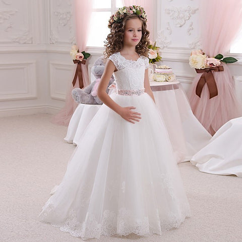 Ivory White Lace Flower Girls Dresses Ball Gown Floor Length