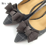 Ballet Flats Shoes Plaid Slip-On Bowtie Woman Single Shoes Ladies Females Footwear Zapatos Mujer Black