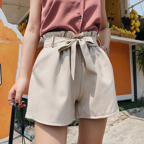 New Summer Bow Tie High Waist Slim Shorts Street