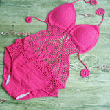 Cut out crochet one piece swimsuit handmade