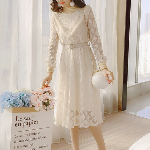 Spring new temperament hollow out lace long sleeve dress