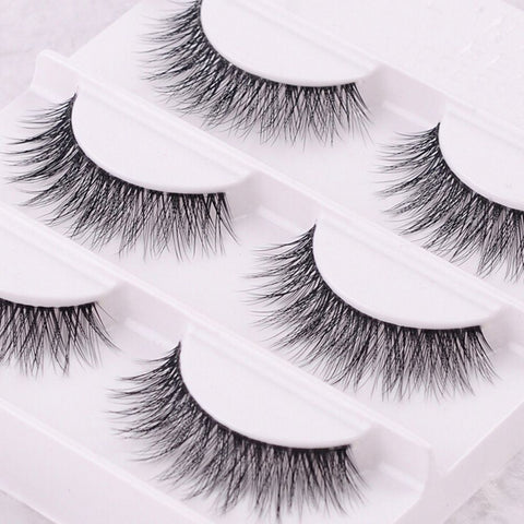 3Pairs Women 100% Handmade Real Mink Fur False Eyelash 3D Strip Mink Lashes
