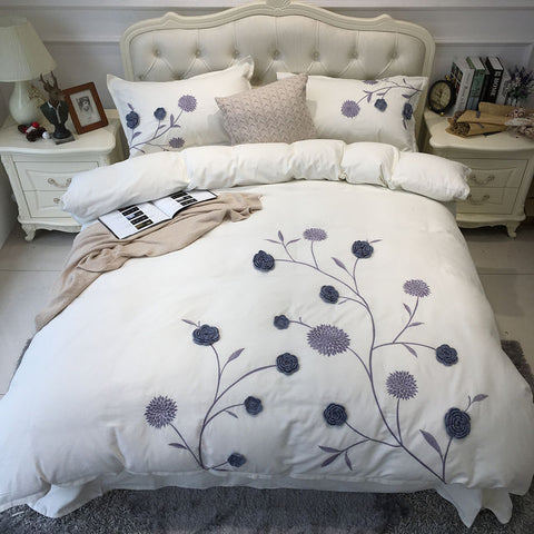 4-Pieces Blue flower Embroidery Egyptian cotton Luxury Bedding Set